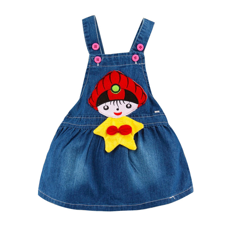 2015 Spring Infant Girl Dress Denim Cartoon Pure color Baby Designer ...