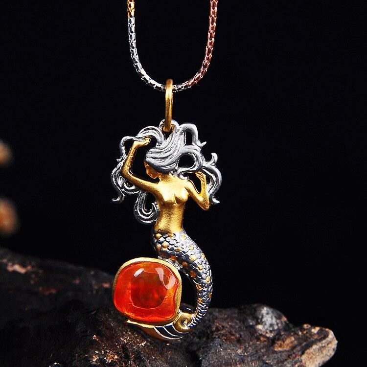 Rétro Thai argent opale australien pierre gemme pendentif et broche double usage mode sirène S925 argent Sterling femmes