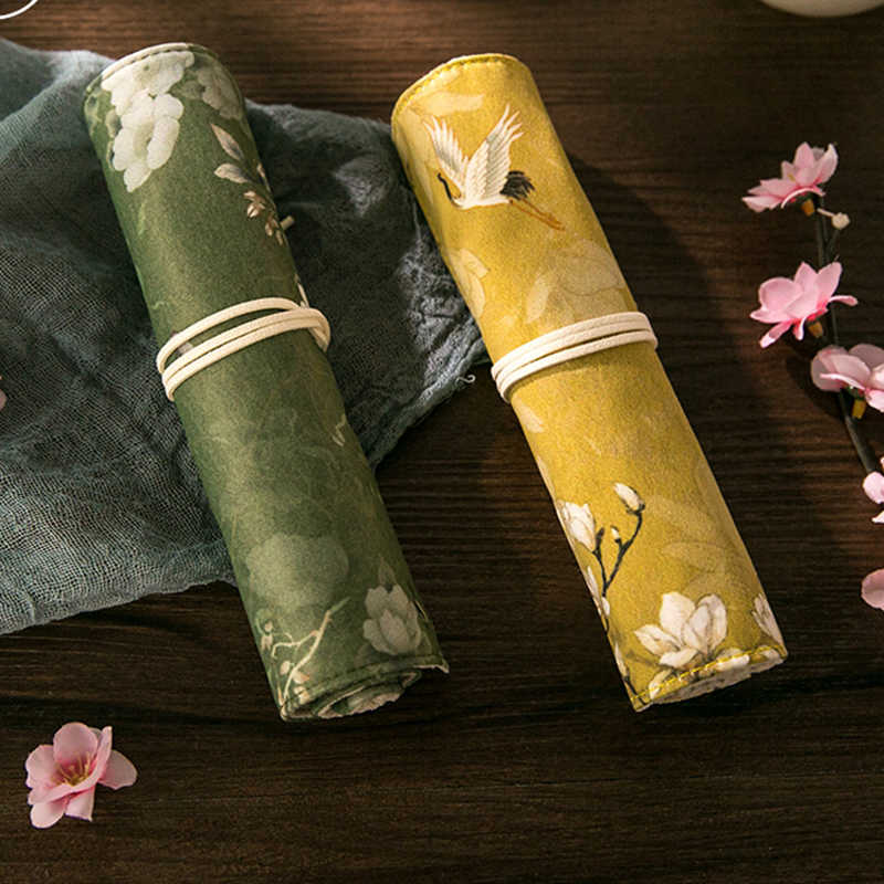 Chinese Style Retro Lotus Flower White Crane Pencil Bag School Office Pencil Case Cosmetic Storage Bags Organizer Girls Gifts
