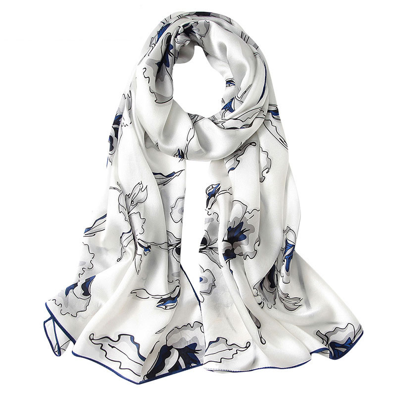 Haute qualité foulard en soie de luxe dames châle wrap turban femme foulard bandeau designer femme élégant longue écharpe cadeau