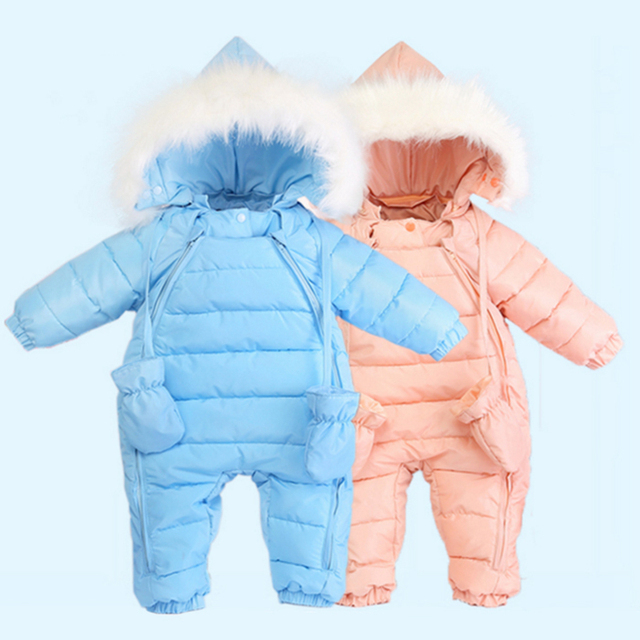 infant baby snowsuit 2016 new winter baby boy girl outerwear outfits down&parkas hooded thermal newborn baby snow wear jumpsuit