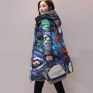 Image 5 - Jaqueta estampada de inverno plus size, casaco feminino de algodão, estampada, mais grosso, para mulheres, com capuz, parca longa, nova moda, casacos acolchoados, wz402