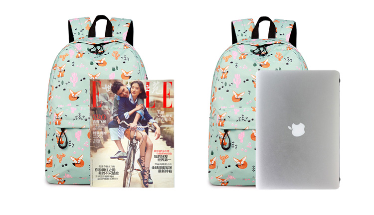 WINNER Fox Pattern Printing Backpack Female Travel Daily Laptop Student School Backpack Water  Repellent For Teenagers Mochila 2018 (1)