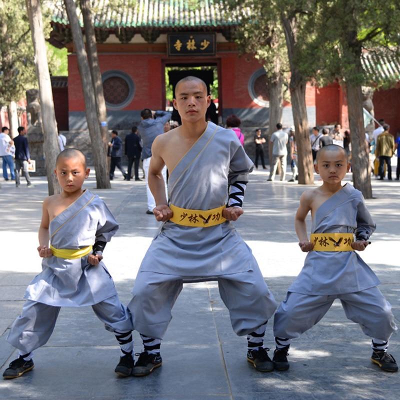 06 Height 100cm-180cm Cotton ShaoLin Single Shoulder KungFu Uniform Performance Suits Costume Anzug For Man Boys
