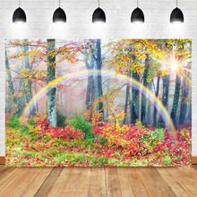 Autumn Photography Backdrop Yellow Leaves Forest Tree Backdrops Rainbow Fall Scenery Children Kids Photo Background