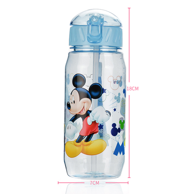 Children High Capacity 400ml Vacuum Cute Water Bottle PP Plastic Bottle Kids Baby Cartoon Minnie Mickey Sport Equipped