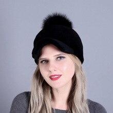 83c9676080eaa LEAYH 1 pièce hiver couleur unie laine tricoté casquettes chaud Crochet Ski  bord Cap fleur Bonnet chapeaux pour femmes visières