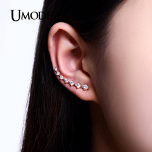 Umode Hot Empat Prong Pengaturan Anting-Anting Pin CZ Kristal Warna Rose Gold Dipper Stud Anting-Anting Perhiasan untuk Wanita Baru Brincos UE0197A(China)