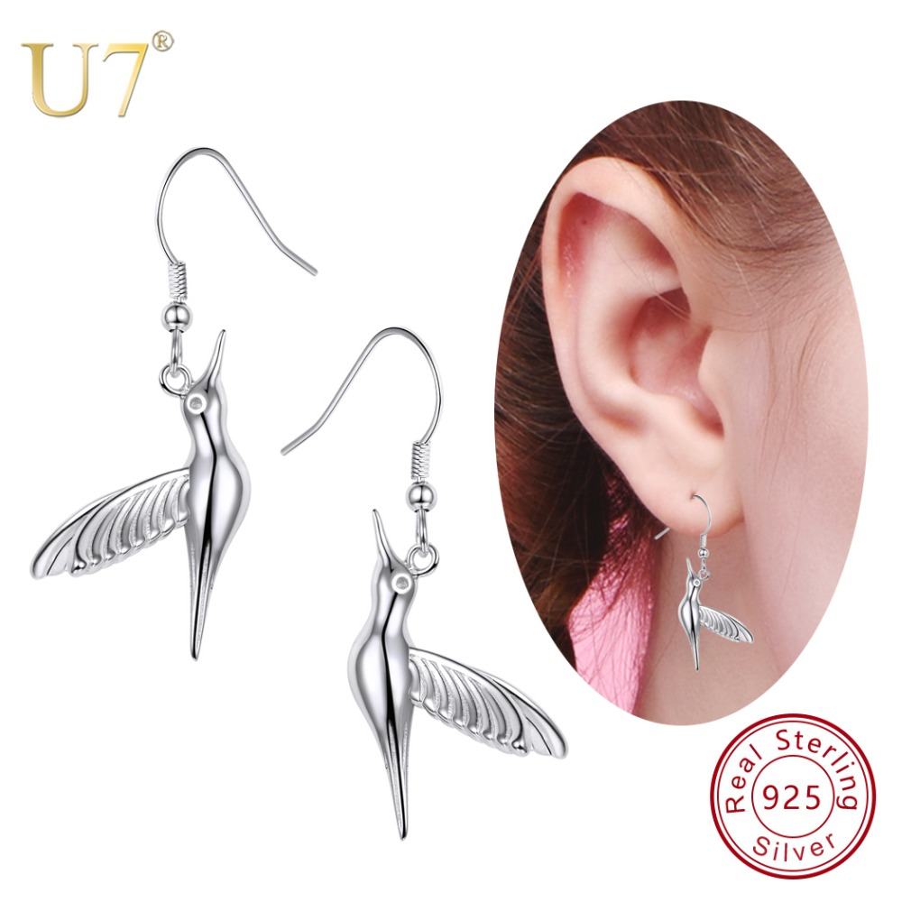 U7 925 Sterling Silver Dangle Bird/Hummingbird Drop Earring 2018 Valentines Day Gift For Women New Animal Jewelry Earrings SC30