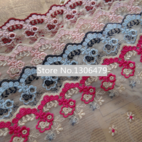 5yards/lot DIY Handmade Accessories Material Lace Trim Decoration 11cm Wide  Computer Embroidery Lace Fabric RS96