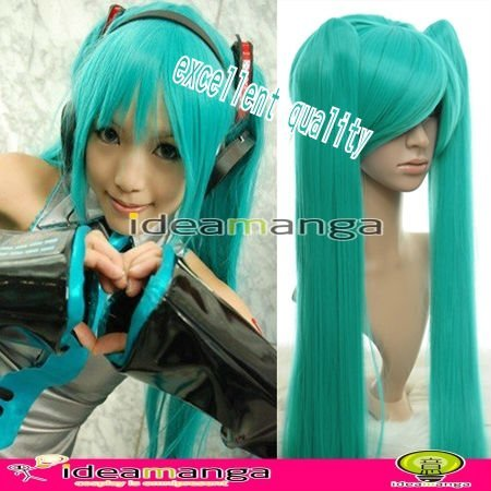 Manga Amime V+ Vocaloid Hatsune Miku Cosplay Wig hair High-temperature Resistance Fibers halloween With 2 Ponytails GREEN 130CM