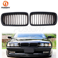 POSSBAY Matte Black Kidney Front Bumper Hood Grille Car Exterior Accessories For BMW 7 Series E38 Sedan 1994 2001 Racing Grill