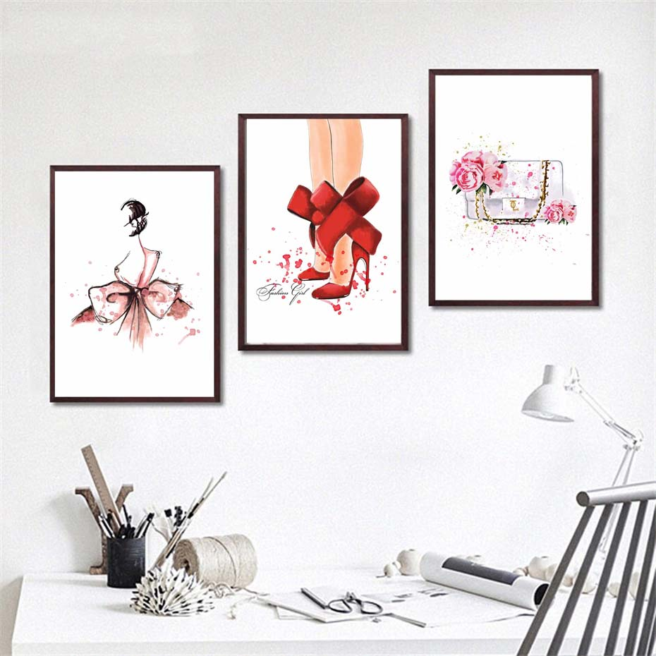 fashion ladies dress posterprints modern wall picture for