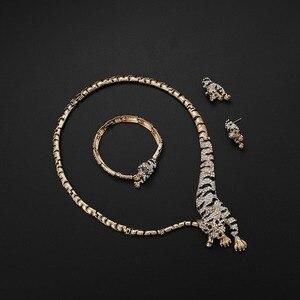 Image 2 - Изысканный Дубай Золотой тигр Хрустальный комплект ювелирных изделий оптом Роскошный нигерийский женский свадебный модный костюм дизайнерский комплект ювелирных изделий