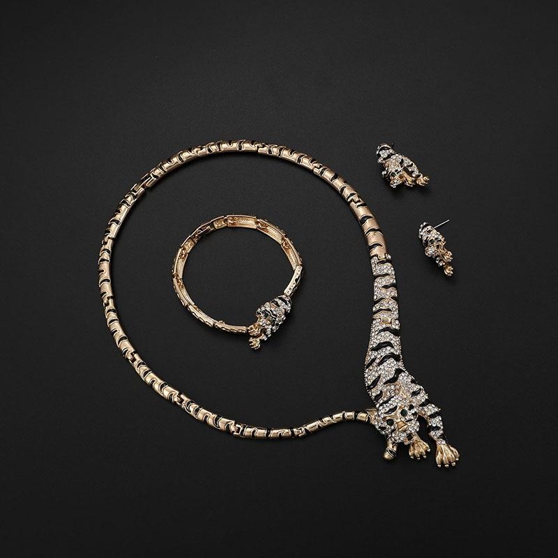 Image 2 - Exquisite Dubai Gold Tiger Crystal Jewelry Set Wholesale Luxury Nigerian Woman Wedding Fashion Costume Design Jewelry SetJewelry Sets   -
