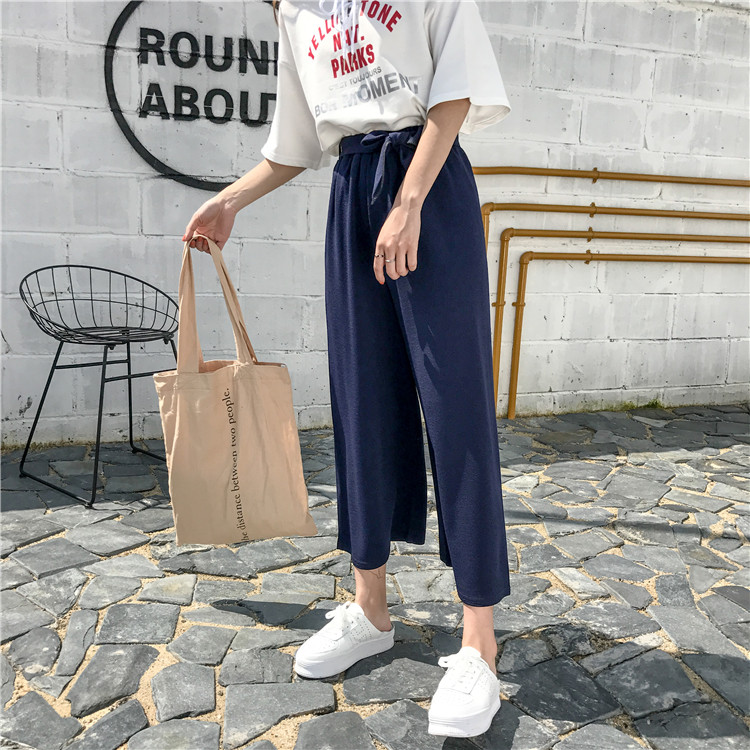 19 Women Casual Loose Wide Leg Pant Womens Elegant Fashion Preppy Style Trousers Female Pure Color Females New Palazzo Pants 54