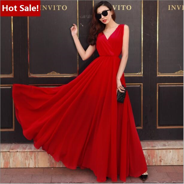 Summer Dress 2016 Women Red Dress Long Chiffon Dresses Summer Style Female Girl Boheminan Beach Dress