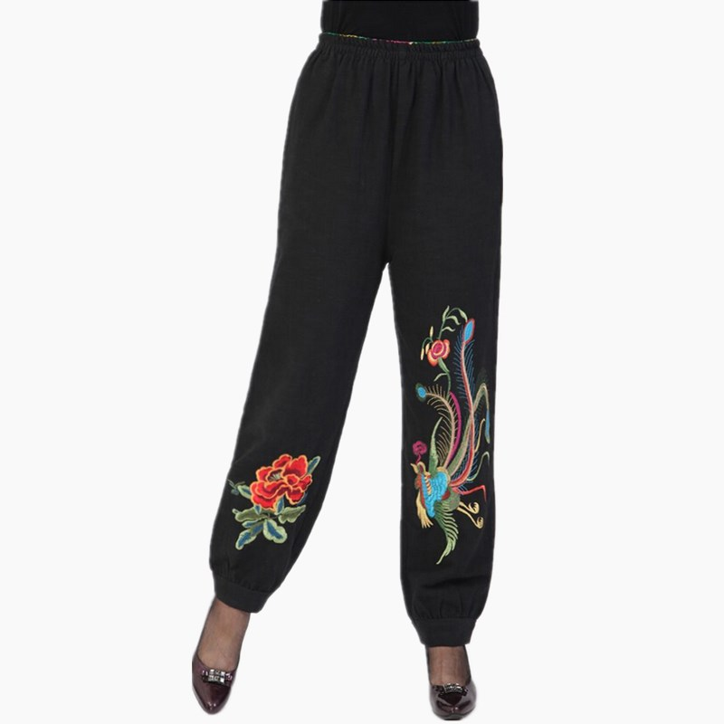 2017 Fashion Spring Summer Women   Pants   Embroidered Cotton Elastic Waist Bloomers   Wide     Leg     Pants   Long Plus Size   Pants   Women