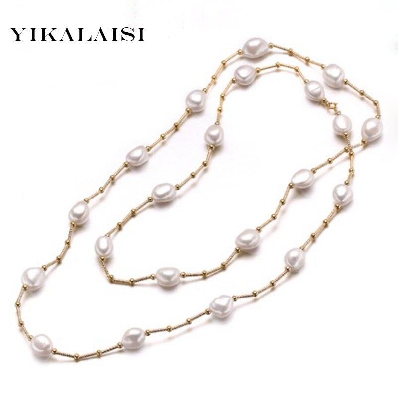 YIKALAISI 2017 collier de perles baroques naturelles pour femmes 10-11mm perle blanche couleur or lourd bijoux 90 cm longueur meilleurs cadeaux