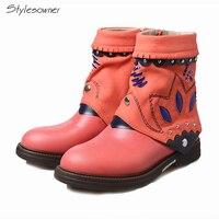 Stylesowner Для женщин ручной работы Western Rivets полусапожки на молнии Цветочный повседневные ботильоны на платформе толстая подошва Fit носить Botas