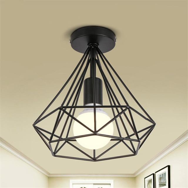 Moderne Retro Ijzer diamant plafond lampen eetkamer lampen Loft ...
