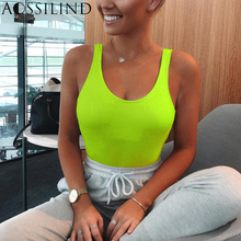 AOSSILIND Ribbed Sleeveless Solid Bodysuit Women 2019 Summer Skinny Backless Sexy Streetwear