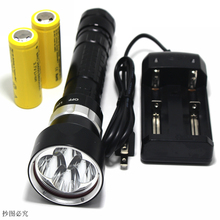 swimming XM-L2x4 Led 10000LM Diving Flashlight Torch Waterproof submarine 200m dive powerful Lantern + 26650 battery + charger