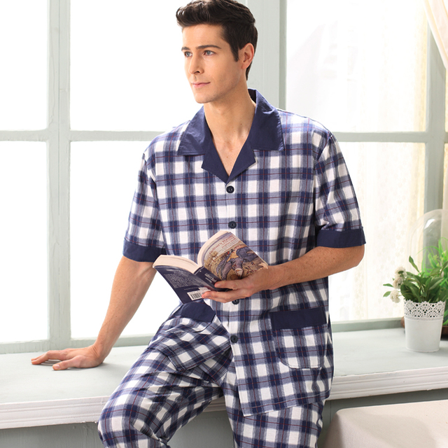 d41fd76ac1d Pajamas Men Summer short sleeves Cotton Sleepwear Trousers Pyjamas Clothing Mens  Lounge Set Plus Size 4XL