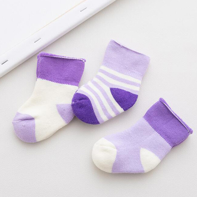 3Pair/lot cotton thick baby socks