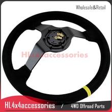 310mm racing steering wheel pu steering wheel flat racing steering wheel 4 buttons game steering wheel 14inch 350mm Racing Steering Wheel Auto Steering Wheel Suede Leather SPAR C RACE wheel Steering