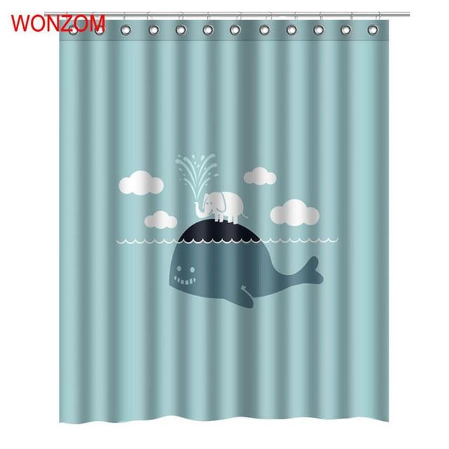 1115 50 De Descuentowonzom Whale Animal Ducha Cortinas Para Decoración De Baño Baño Baño Moderno Océano Cortina Impermeable Con 12 Ganchos
