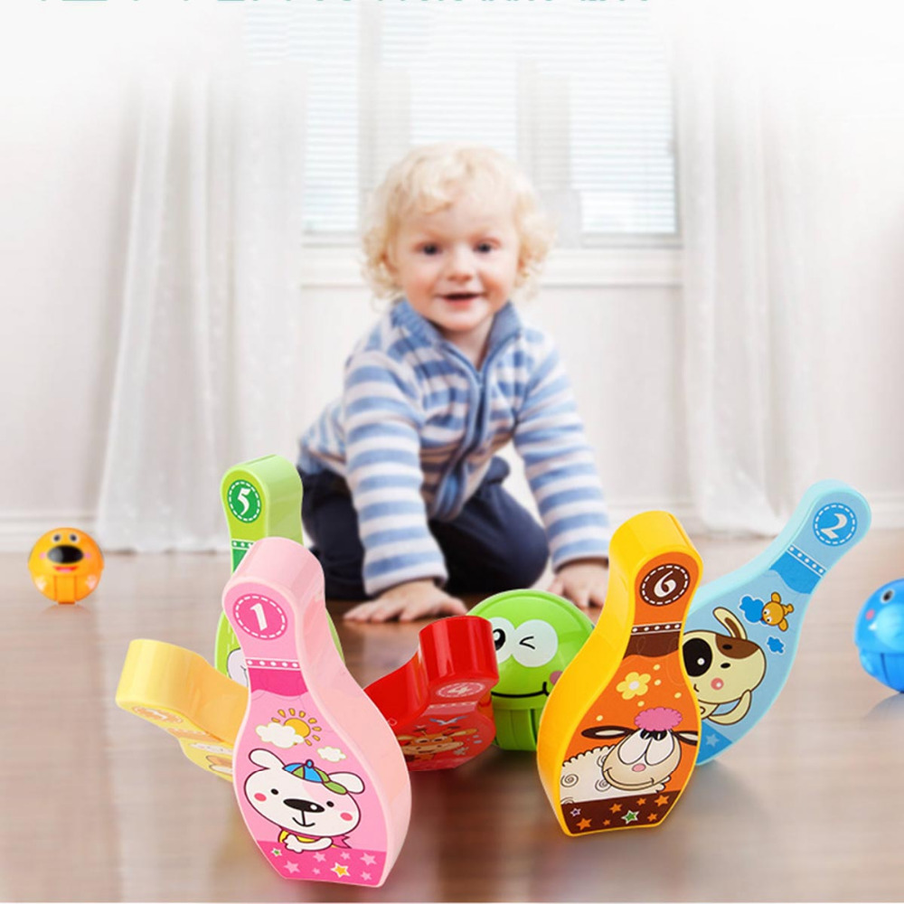 Toy Sports 1 tumbler balls + 6 wooden bottles Bowling Children Kids Educational Party Fun Family Game Educational Outdoor Party