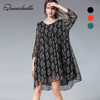 Queechalle Brief V neck long sleeve loose chiffon dress Spring lace lotus leaf large size Women dress casual black orange green
