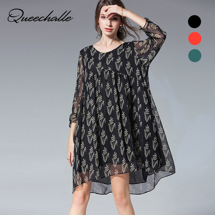 306c9caf28 Queechalle Brief V neck long sleeve loose chiffon dress Spring lace lotus  leaf large size Women dress casual black orange green