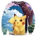 Pokemon Pikachu Lindo Cuello Redondo Sudaderas Mujeres Hombres tops Jumper Moda Ropa Suelos Jongging Hoodies Harajuku Sudores