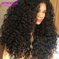180 de densidad Pesada rizado afro rizado pelucas glueless del frente del cordón pelucas con el pelo del bebé Brasileña pelucas rizadas del pelo humano para las mujeres negras