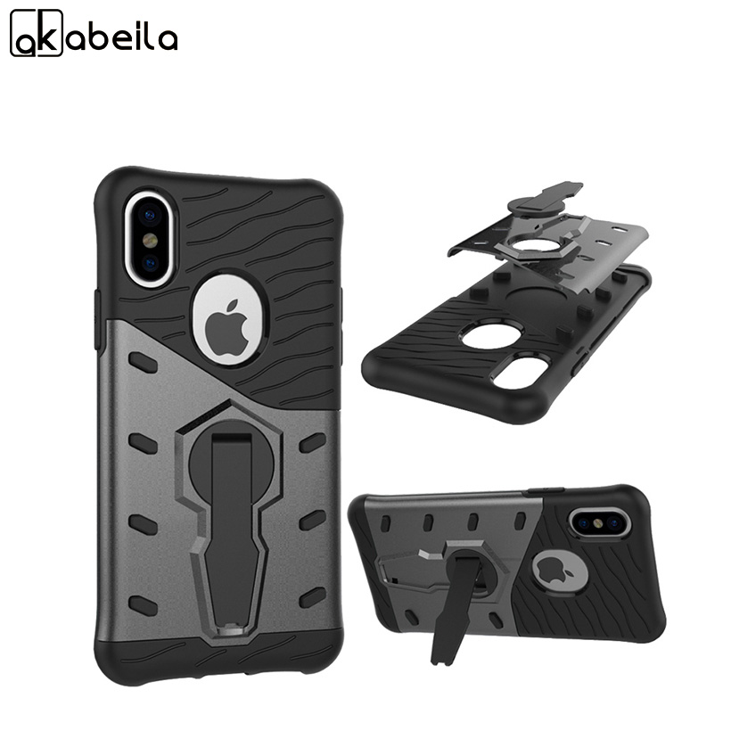 AKABEILA Mobile Phone Case For Apple iPhone X iPhone 10 iPhone Ten Cover Rugged Armor Hard PC & TPU Hybrid Kickstand Back Covers