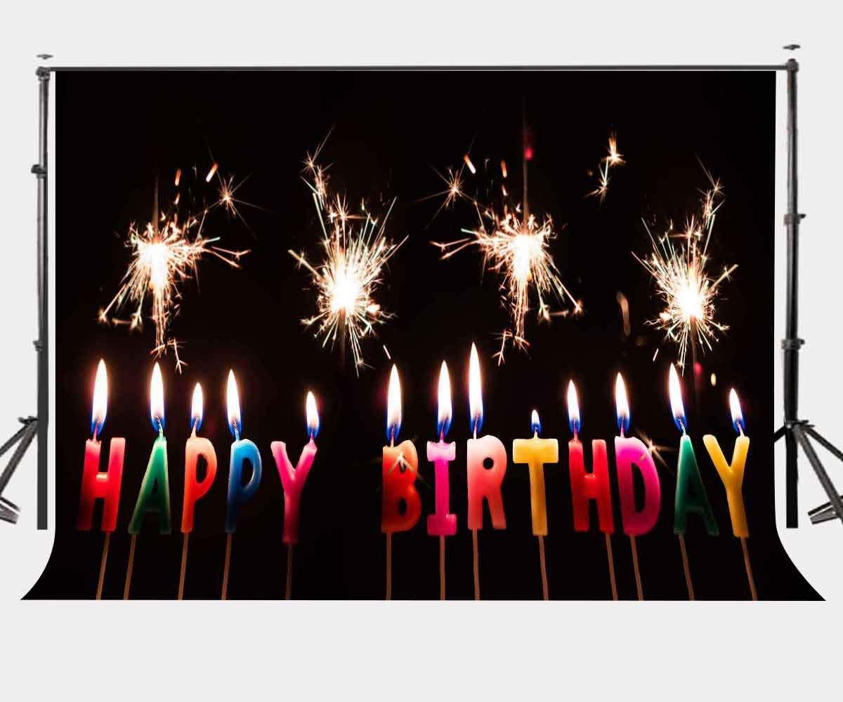 150x220cm Birthday Backdrop Colorful Burning Candles Booming Fireworks Photography Background Newborns Children Birthday Party