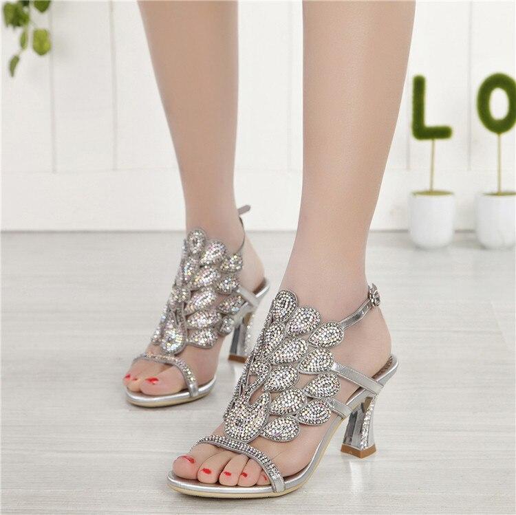 G-sparrow 2018 Summer Korean Rhinestone Slipper Silver Elegant Wedding Shoes Womens Crystal High Heel Sandals3