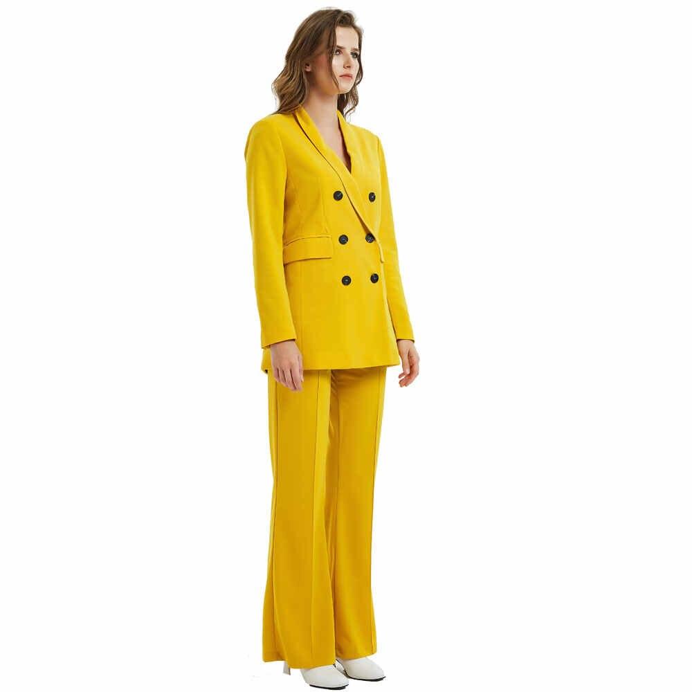 黄色パンツスーツ女性ファッション長袖ジャケットロングワイド脚パンツ女性ダブル Breaste スーツ女性