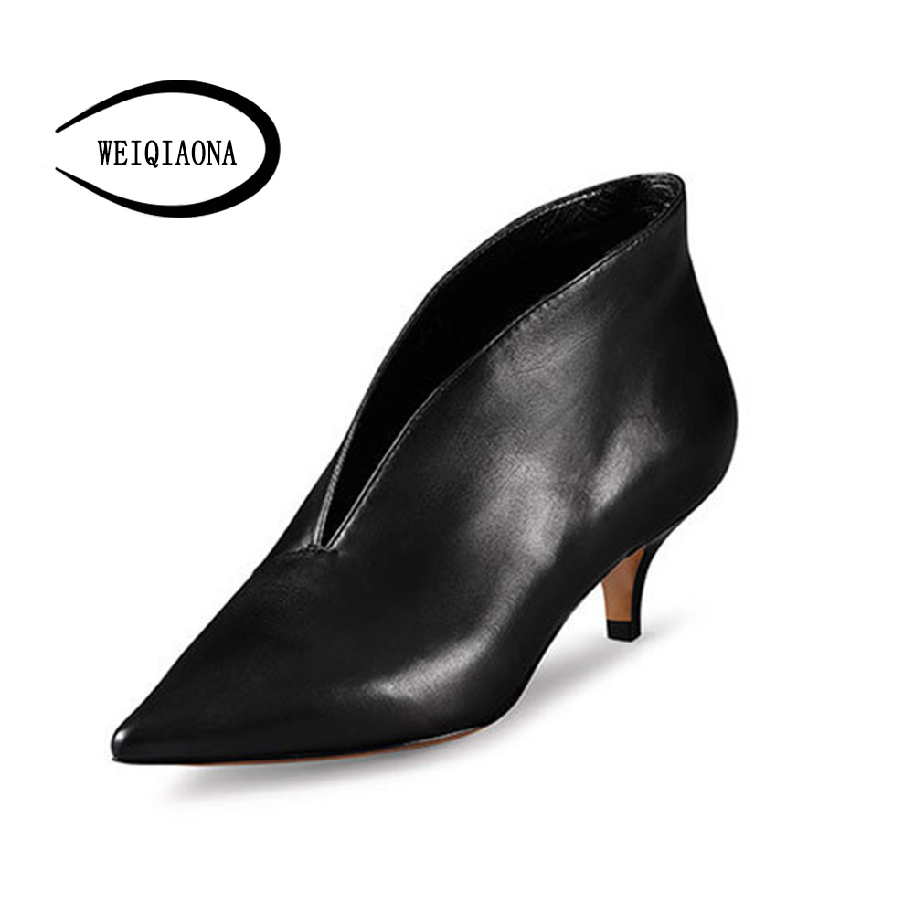 WEIQIAONA 2018 New Women for Shoes Casual Pumps Short Boots Sexy High Heels Pointed V-mouths Ladies Dress shoes OL Daily Shoes