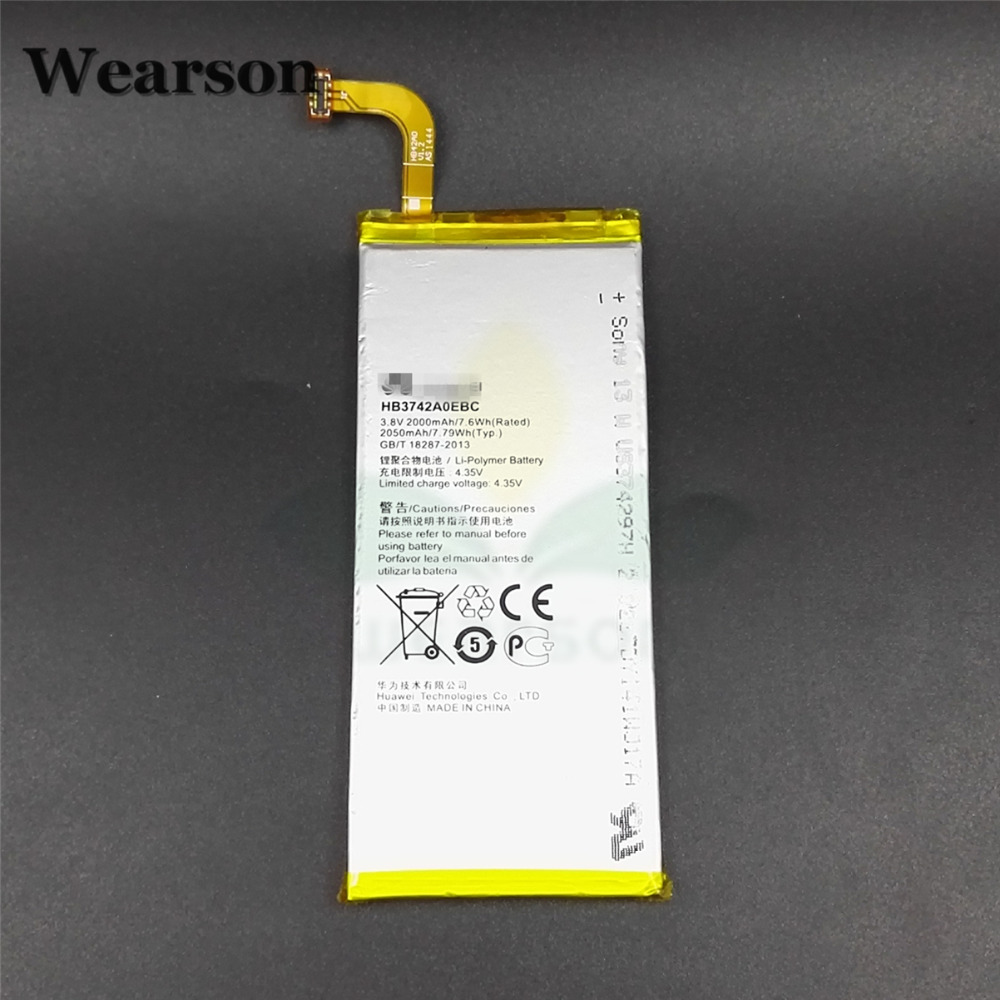 Wearson HB3742A0EBC Battery For Huawei P6 Battery High Quality 2000mAh Free Shipping With Tracking Number
