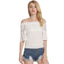 2017 Summer Hot Sale Women Slash Neck Half Flare Sleeve Solid Color Fashion Shirt Female Lace Spliced Sexy Cotton Blouse Shirts