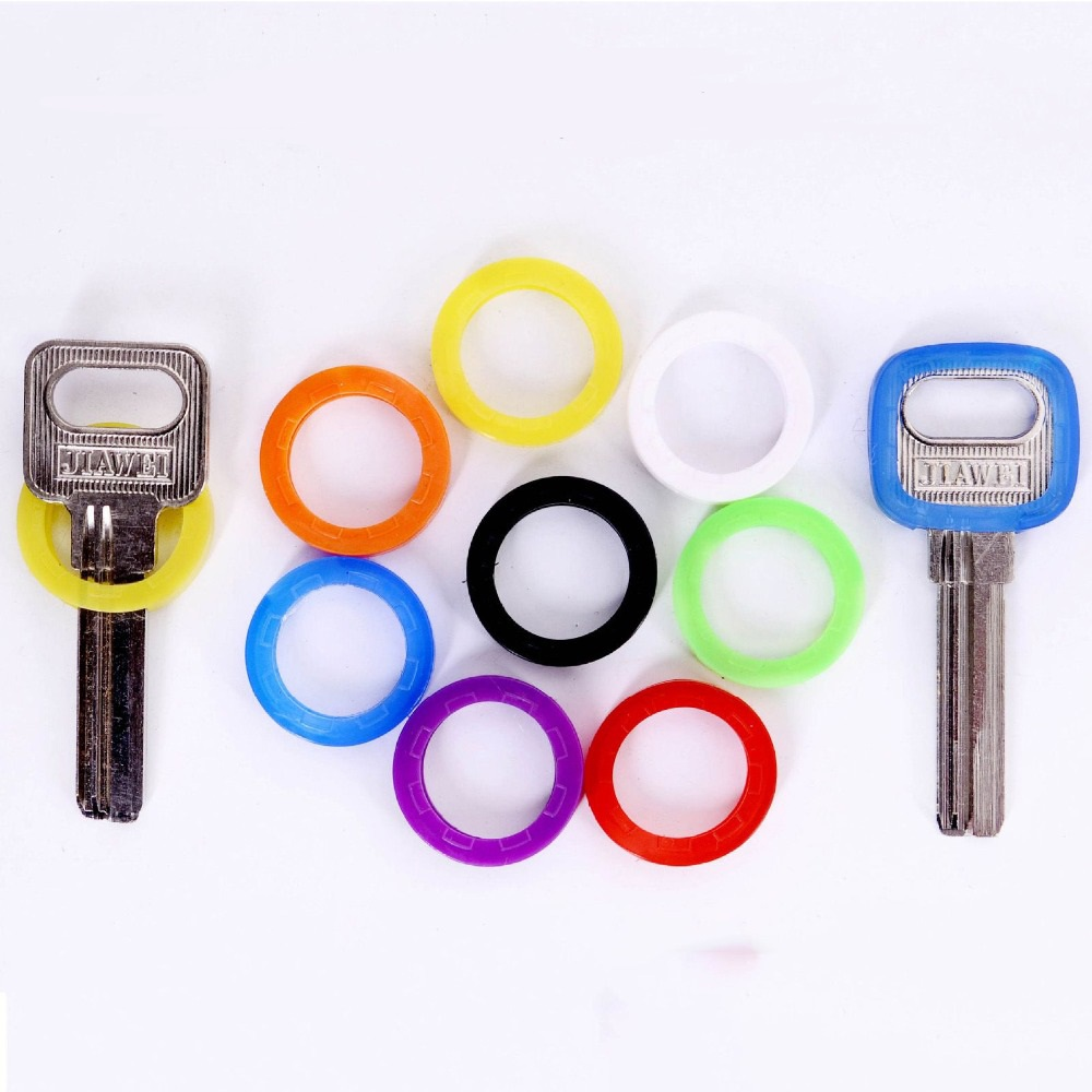 8pc/set Random Colors Hollow Silicone Key Cap Covers Topper Key Holder Keyring Rings Key Case Bag Organizer Wallets