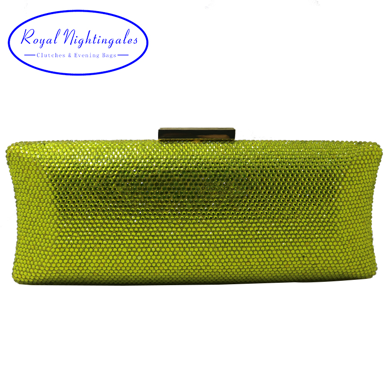 Royal Nightingales New Women Crystal Clutches Hard Box Evening Bags and Evening Clutches Yellow Green Red