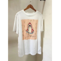 White Cartoon Printed Female T shirt 2018 Tee Summer Novelty Shark Tee Print Loose Women Tshirt