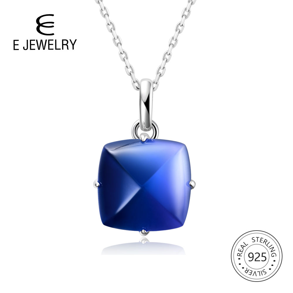 E Jewelry Blue Gradient Tourmaline crystal women Pendant & Necklace 100% 925 sterling silver pendant for women Fashion gift NewE Jewelry Blue Gradient Tourmaline crystal women Pendant & Necklace 100% 925 sterling silver pendant for women Fashion gift New