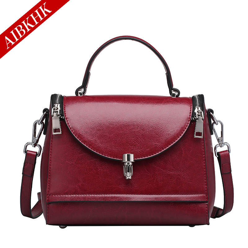 New Fashion High Quality Women Handbags Genuine Real Natural Leather Ladies Shoulder Bag Female Girl Oil Wax Leather Luxury Bag qiaobao 100% genuine leather handbags new network of red explosion ladle ladies bag fashion trend ladies bag