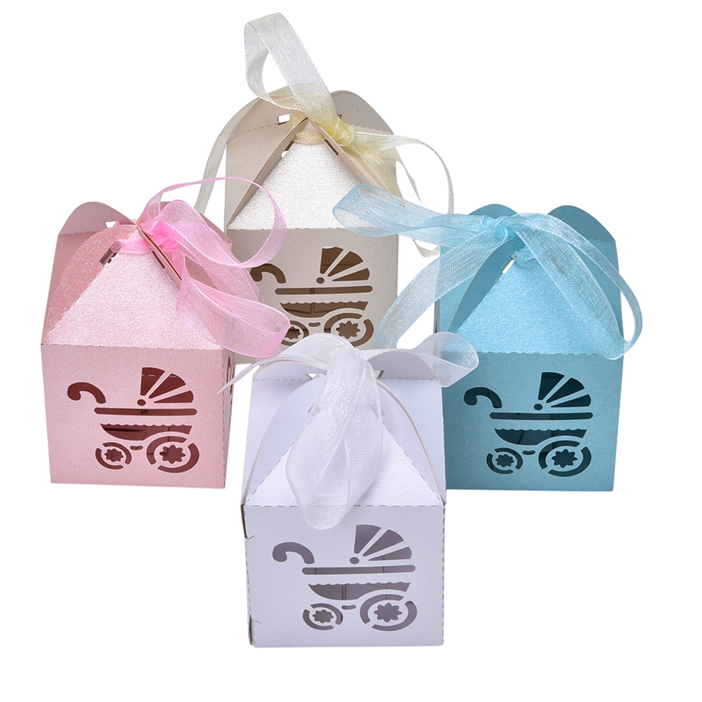 10pcs Candy Boxes With Ribbon Carriage Shape Shower Favor