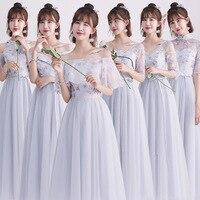 Grey Bridesmaid Dresses tulle 2018 New Designer Beach Garden Wedding Party Formal Junior Women Ladies Vestido De Noiva